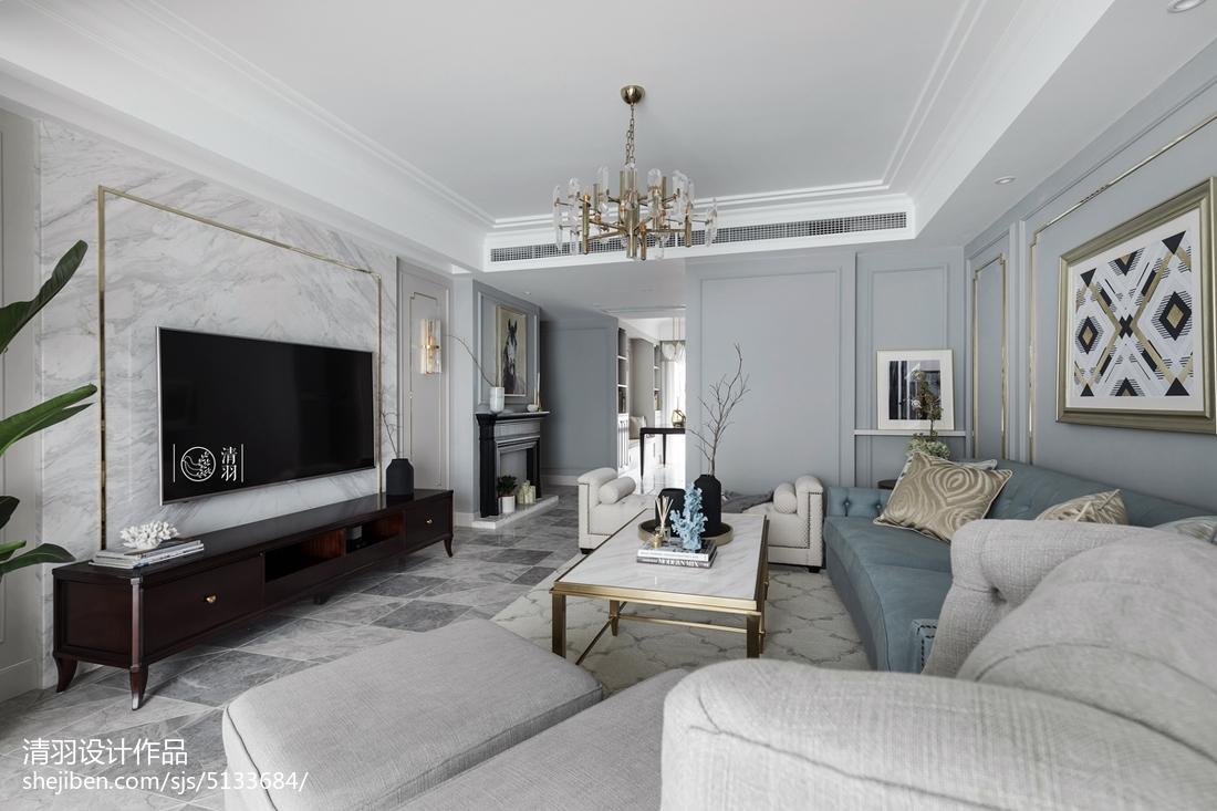 美式四居客厅实景图