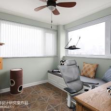热门面积107平美式三居阳台欣赏图片