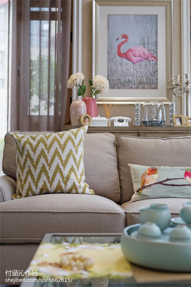 面积141平复式客厅美式装修设计效果图片欣赏