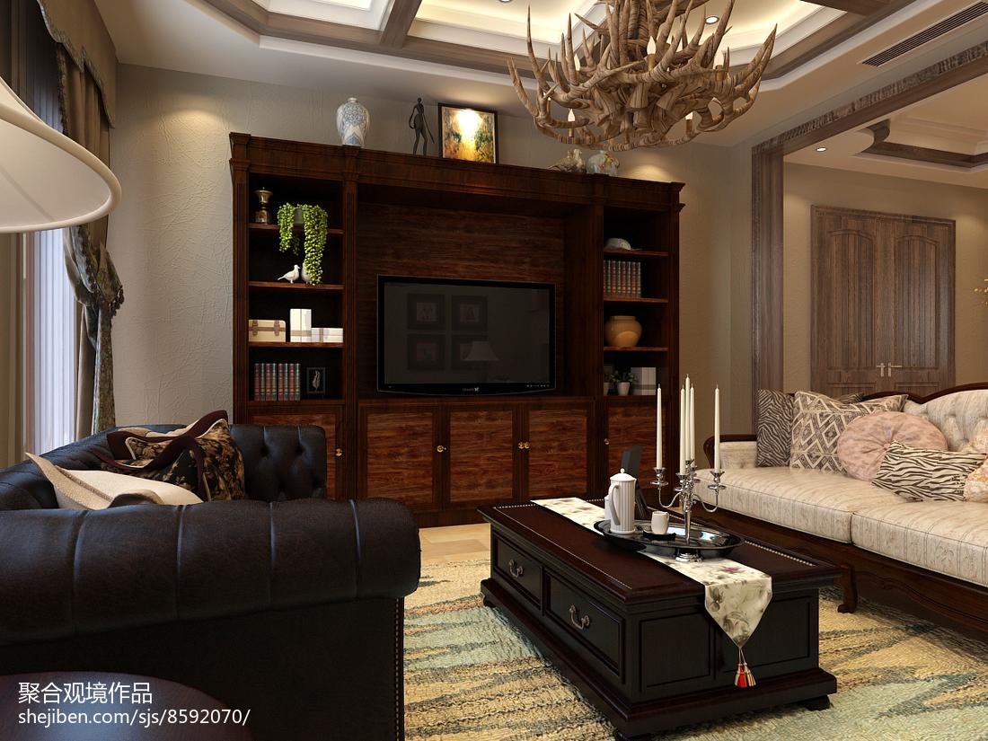 美式客厅装修实景图