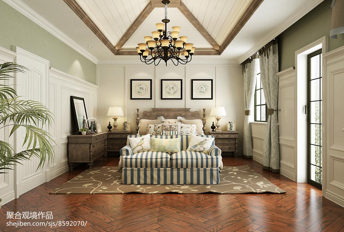 精选127平方美式别墅卧室欣赏图片大全