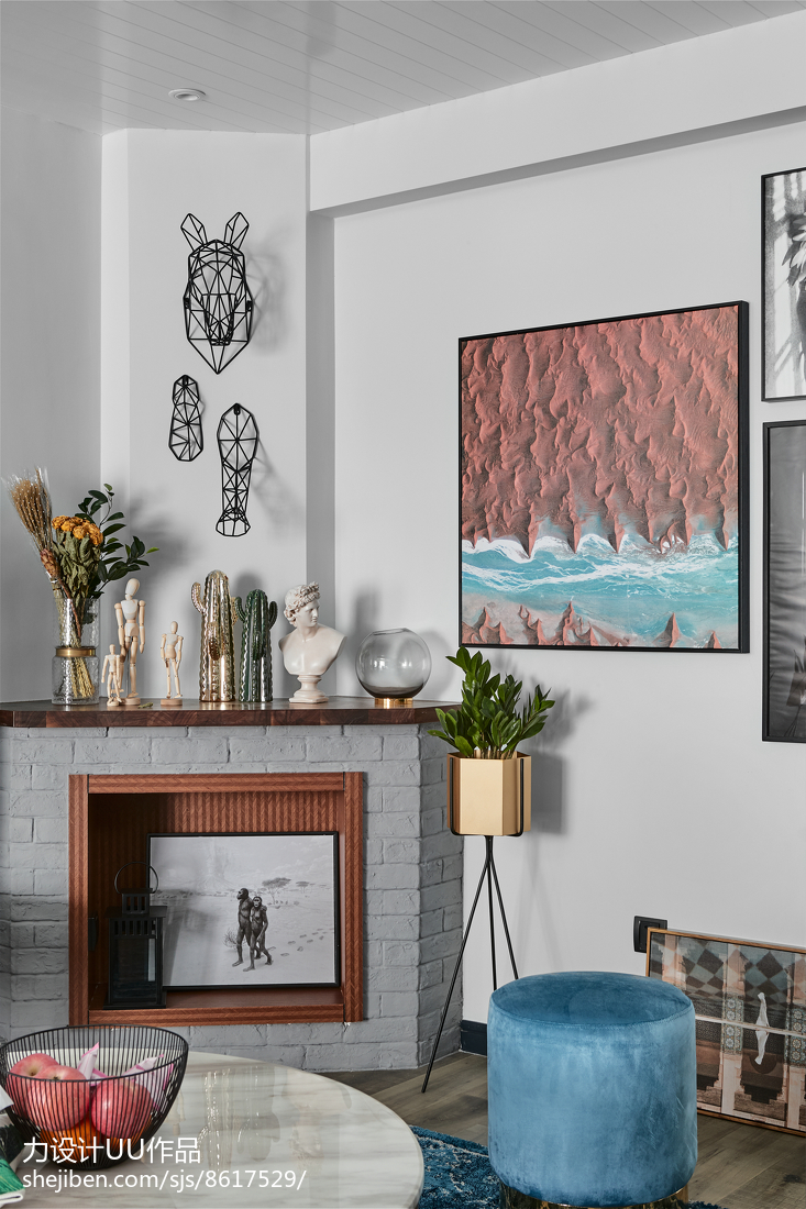 2018精选105平客厅三居混搭装修设计效果图片大全