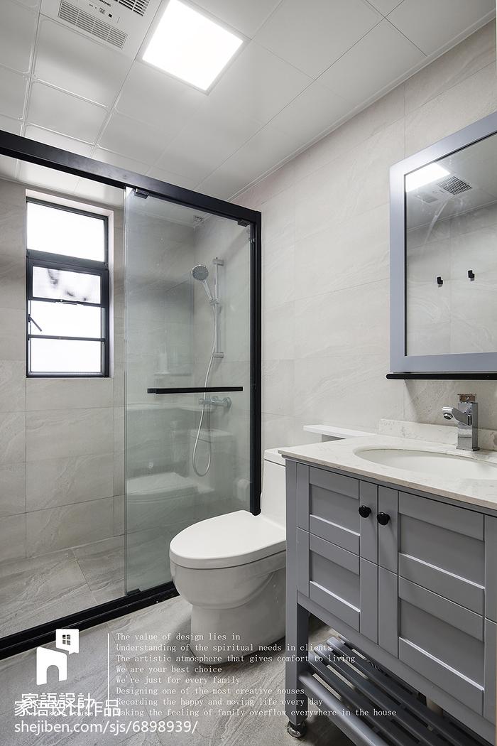 精美面积90平北欧三居卫生间装修实景图