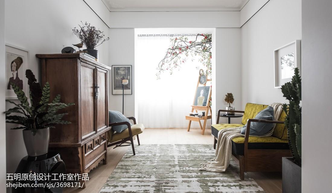 2018精选面积85平小户型客厅混搭装修实景图片欣赏