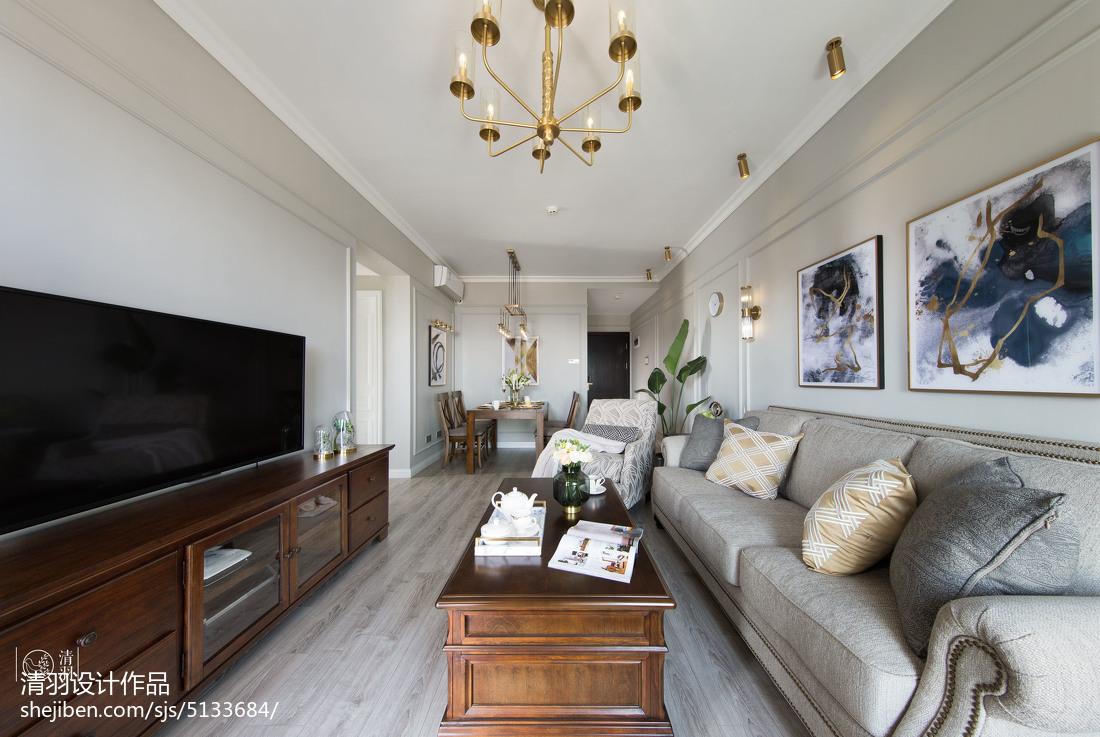 热门102平米三居客厅美式装修效果图片大全