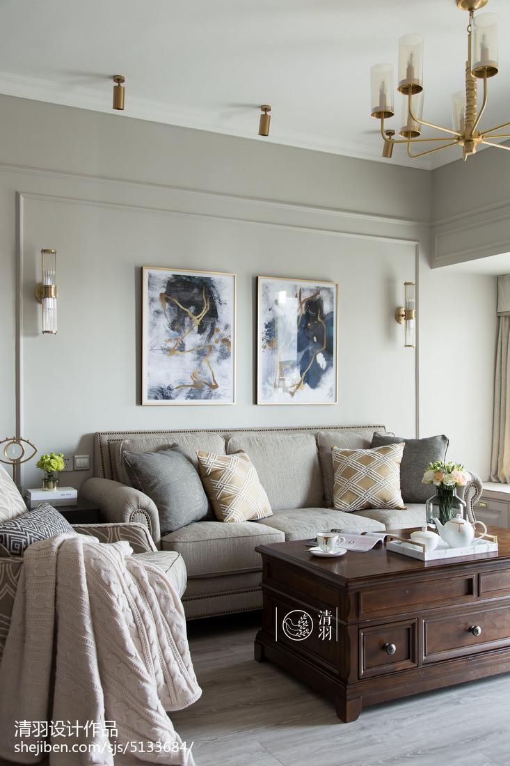 热门面积96平美式三居客厅装修实景图