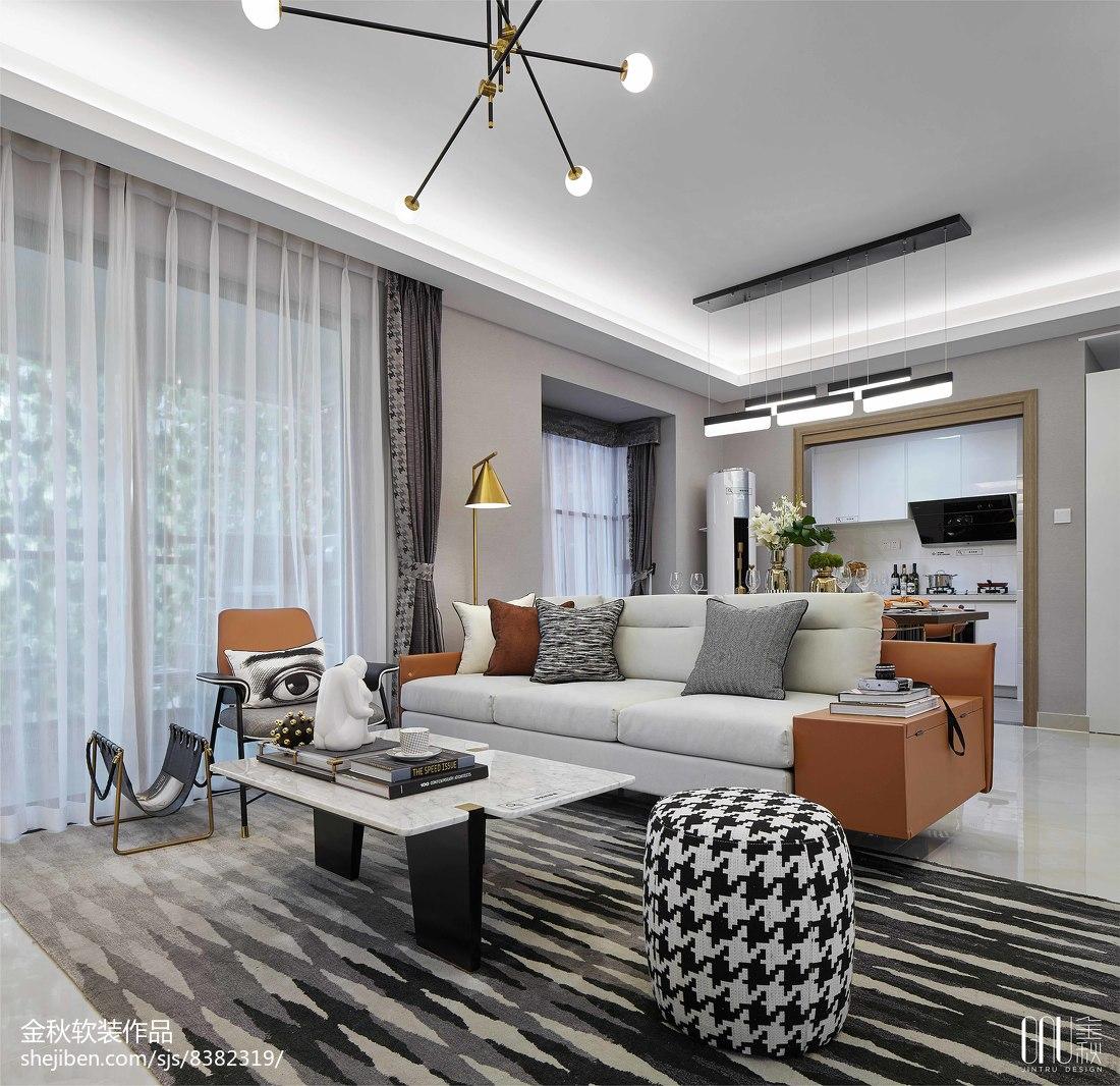 现代样板房客厅设计实景图