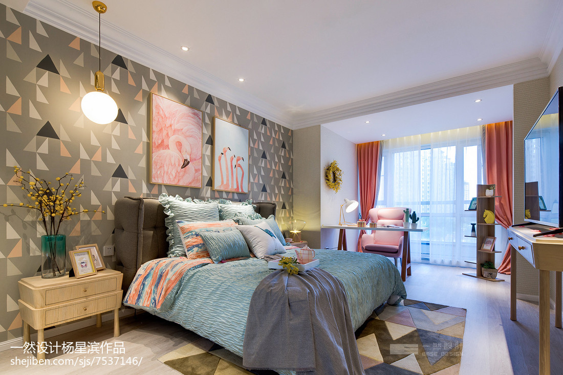 现代样板房卧室设计实景图