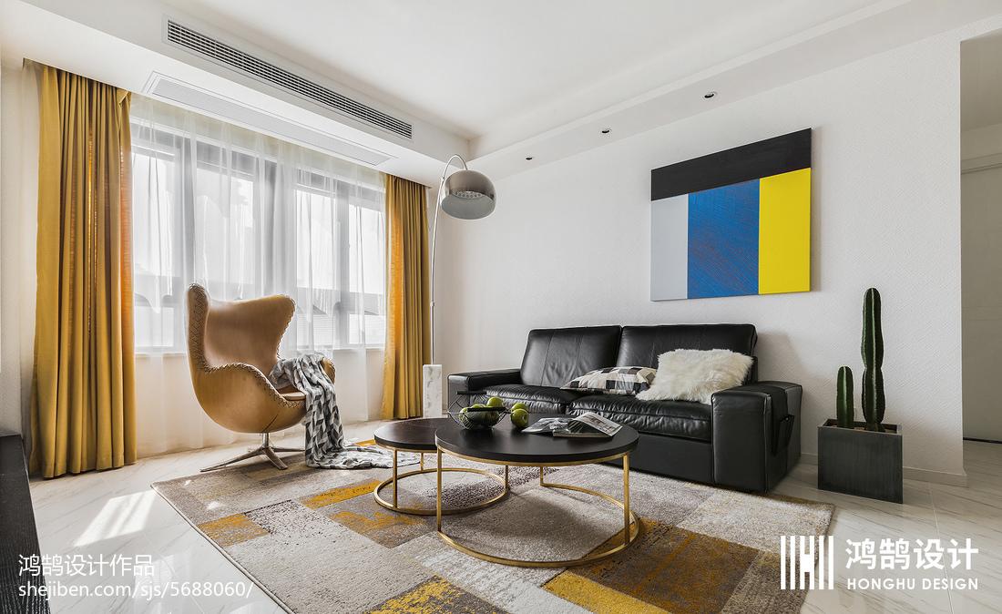 精美92平米三居客厅简约装修实景图片大全