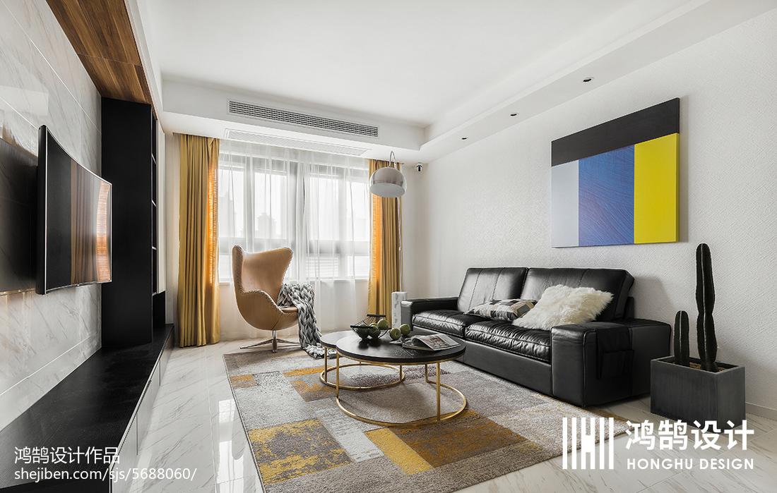热门大小92平简约三居客厅装修效果图片