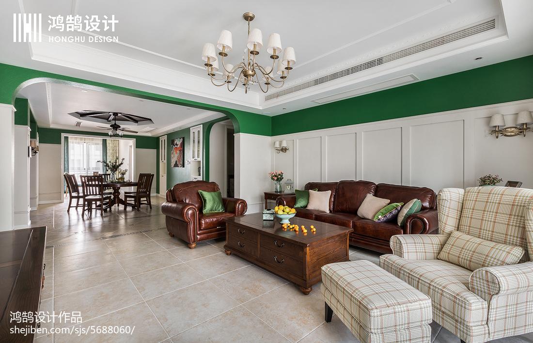 热门109平米三居客厅美式装修欣赏图片
