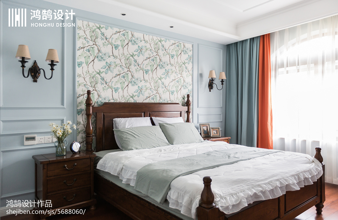 2018面积103平美式三居卧室效果图