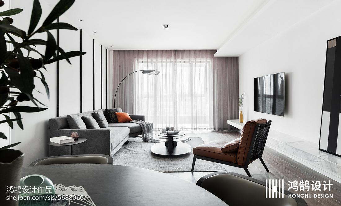 2018106平客厅三居现代装修效果图片大全