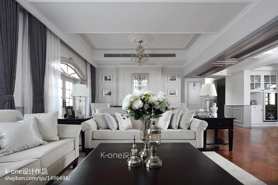 热门面积119平别墅客厅美式装修设计效果图片