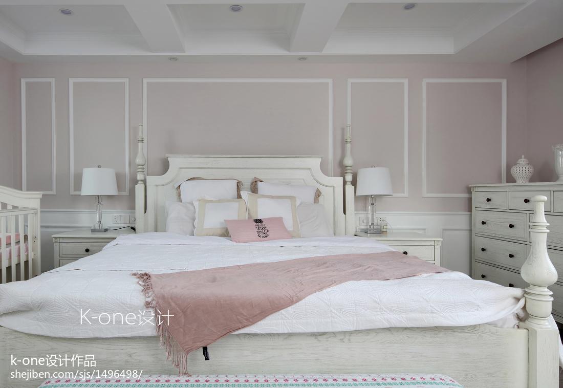 2018126平米美式别墅卧室装修设计效果图