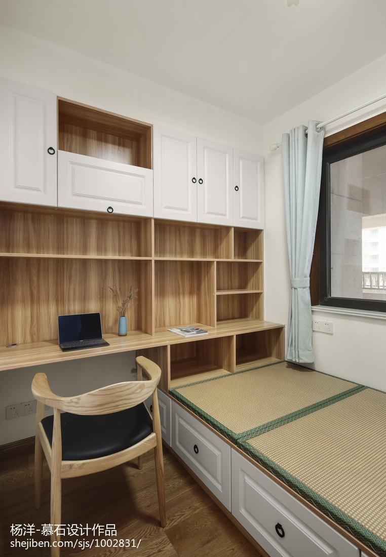 热门面积92平日式三居书房效果图片大全