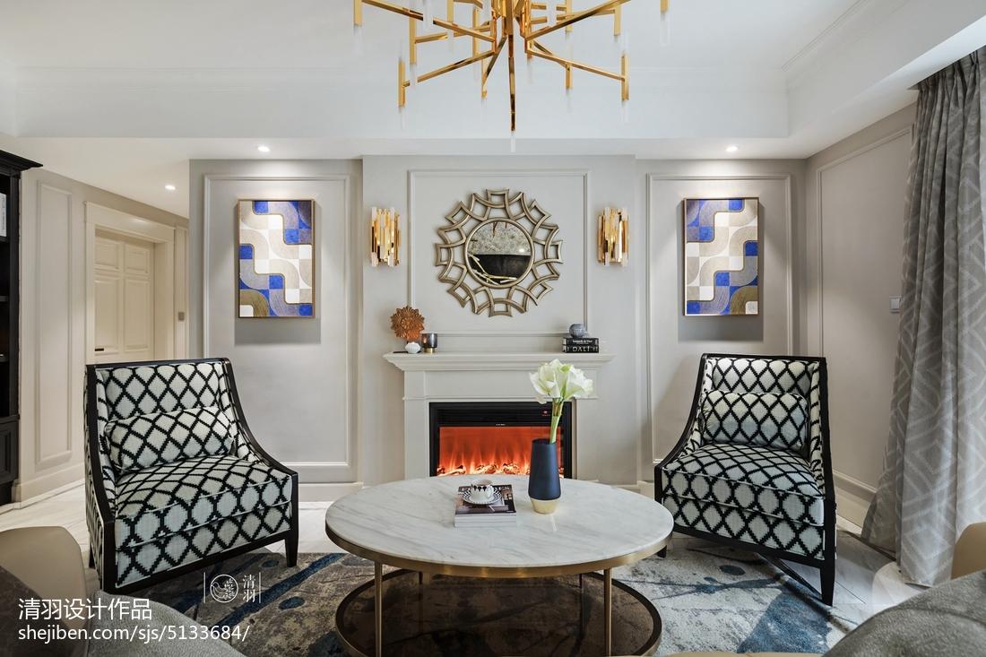 优美72平美式三居客厅效果图欣赏