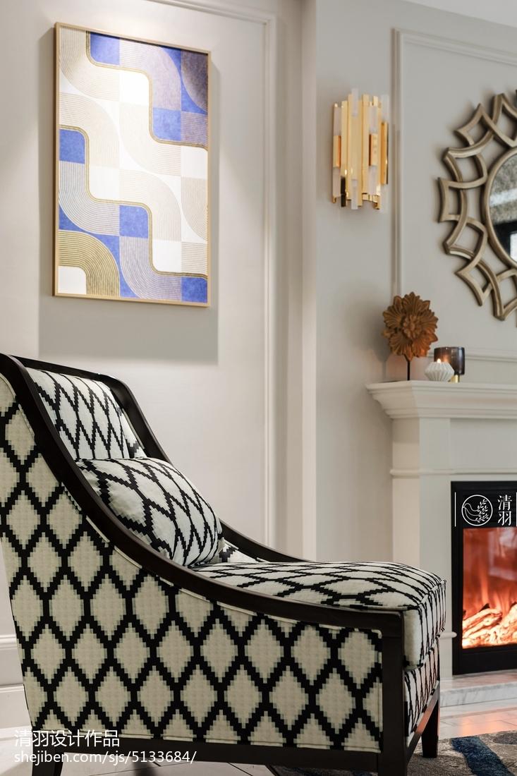 精选106平方三居客厅美式装修设计效果图片欣赏