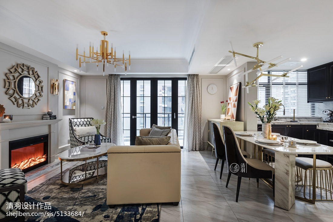 精美面积107平美式三居客厅效果图片