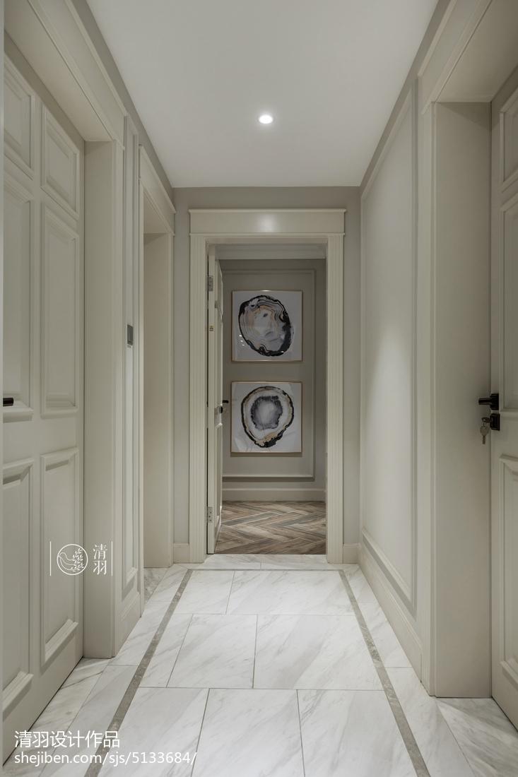 精美107平米三居过道美式装修设计效果图片欣赏