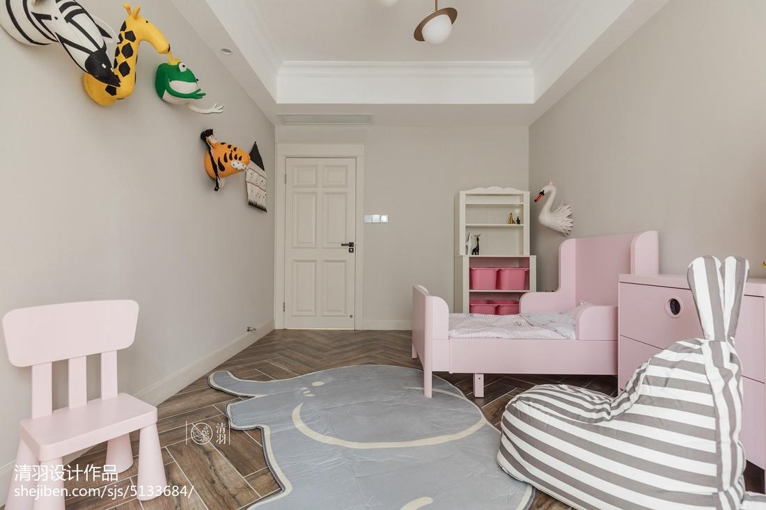 热门103平米三居儿童房美式装修欣赏图