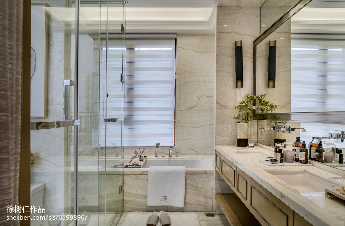 精美350平中式别墅卫生间装修设计图