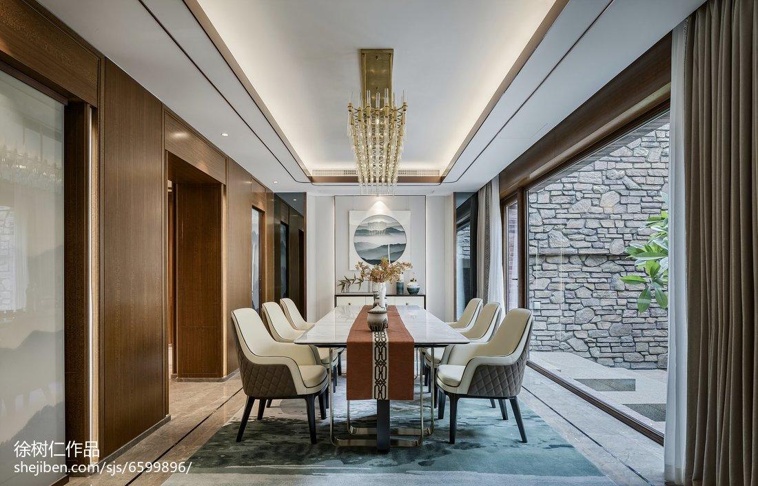精选112平米中式别墅餐厅装修实景图片