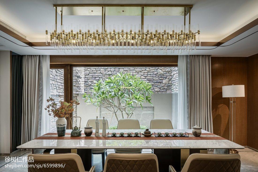 热门面积115平别墅餐厅中式装修设计效果图片