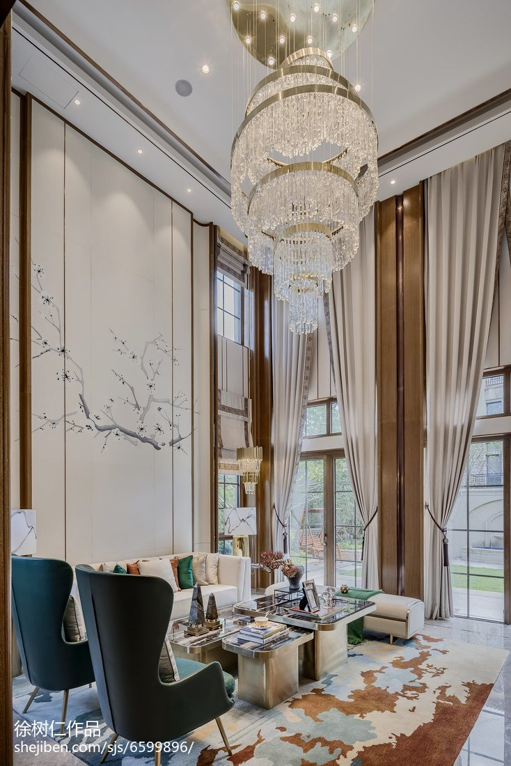 2018126平米中式别墅客厅装修实景图片