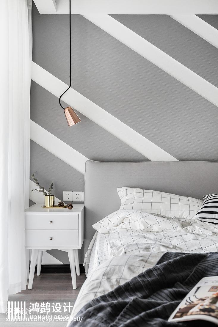 华丽105平北欧三居卧室布置图