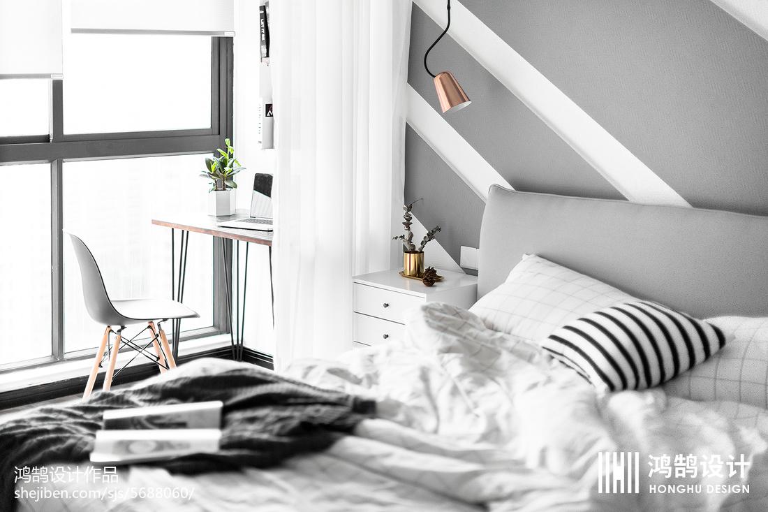 简洁114平北欧三居卧室装饰图片