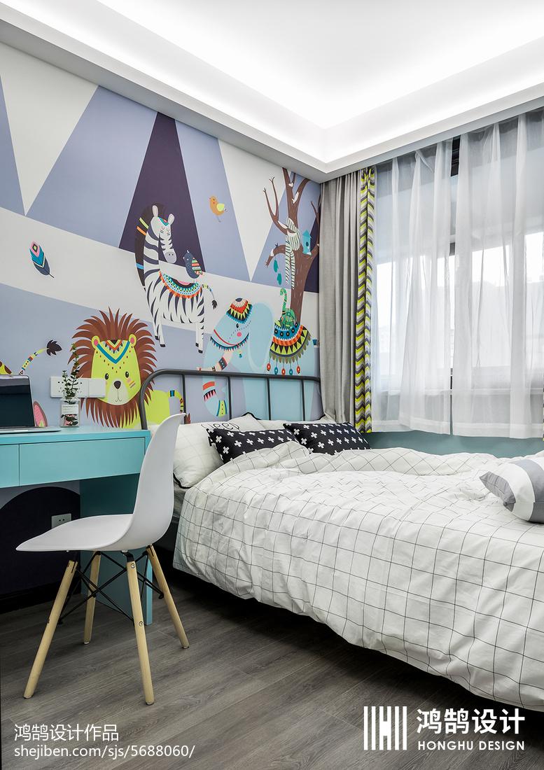 华丽88平北欧三居儿童房案例图