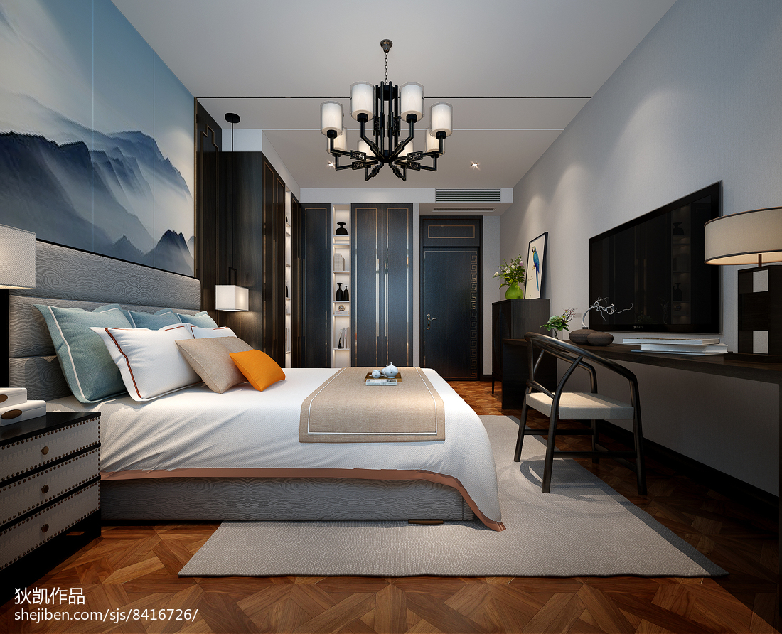 地中海装修温馨卧室窗帘欣赏