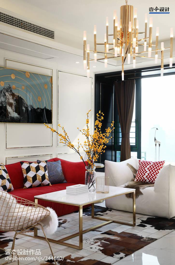热门104平米三居客厅简约装修实景图片