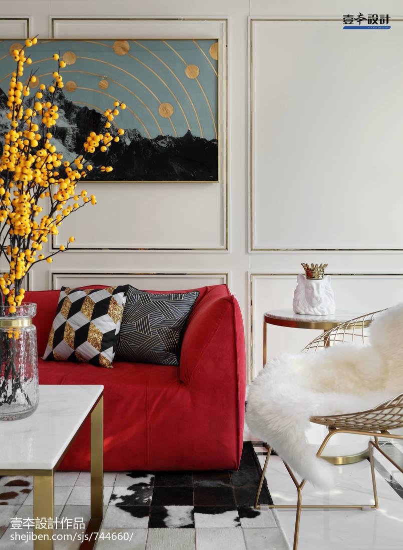 精美107平米三居客厅简约装修设计效果图片