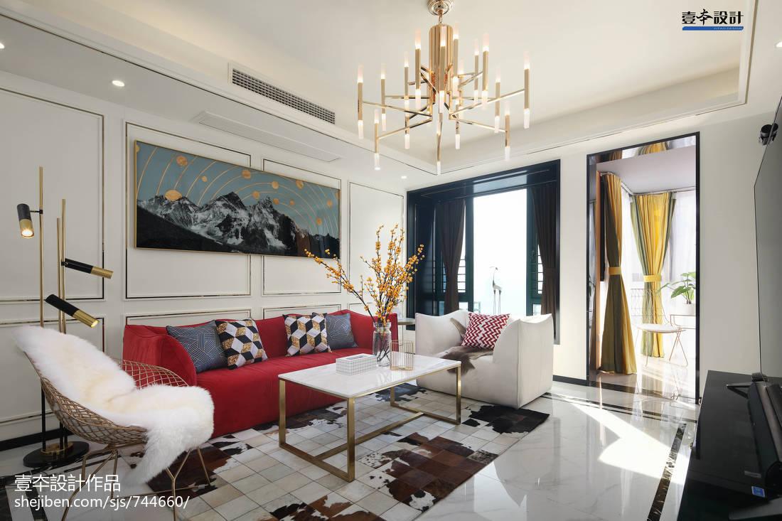 2018精选面积92平简约三居客厅装修设计效果图片大全