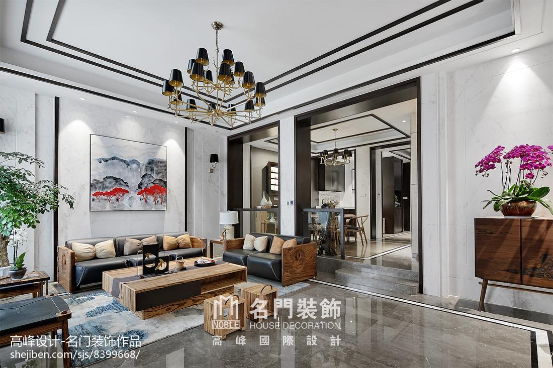 2018精选面积115平别墅客厅中式效果图片
