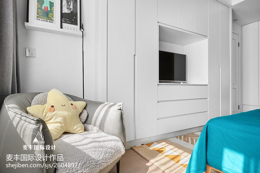 簡易北歐風臥室電視墻設計