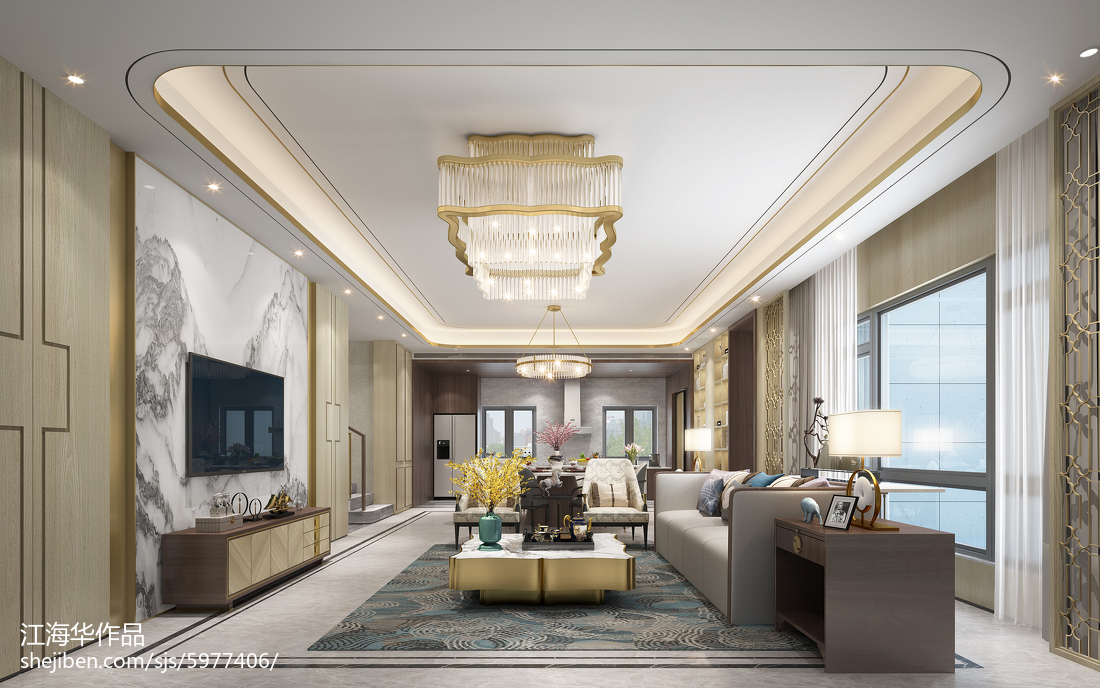 2018精选139平米中式别墅客厅装饰图片欣赏