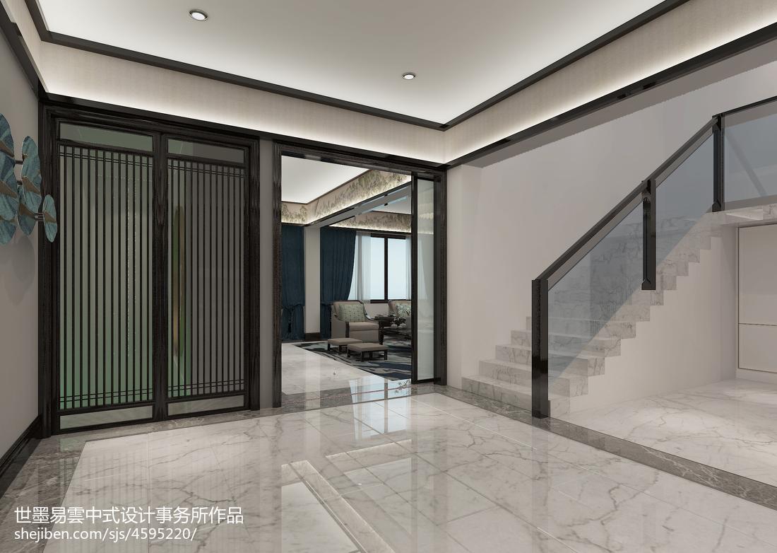 质朴935平中式别墅过道装修设计图