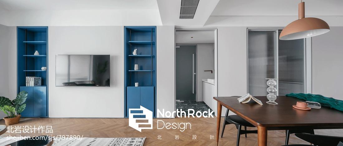 轻奢110平北欧三居客厅装饰图