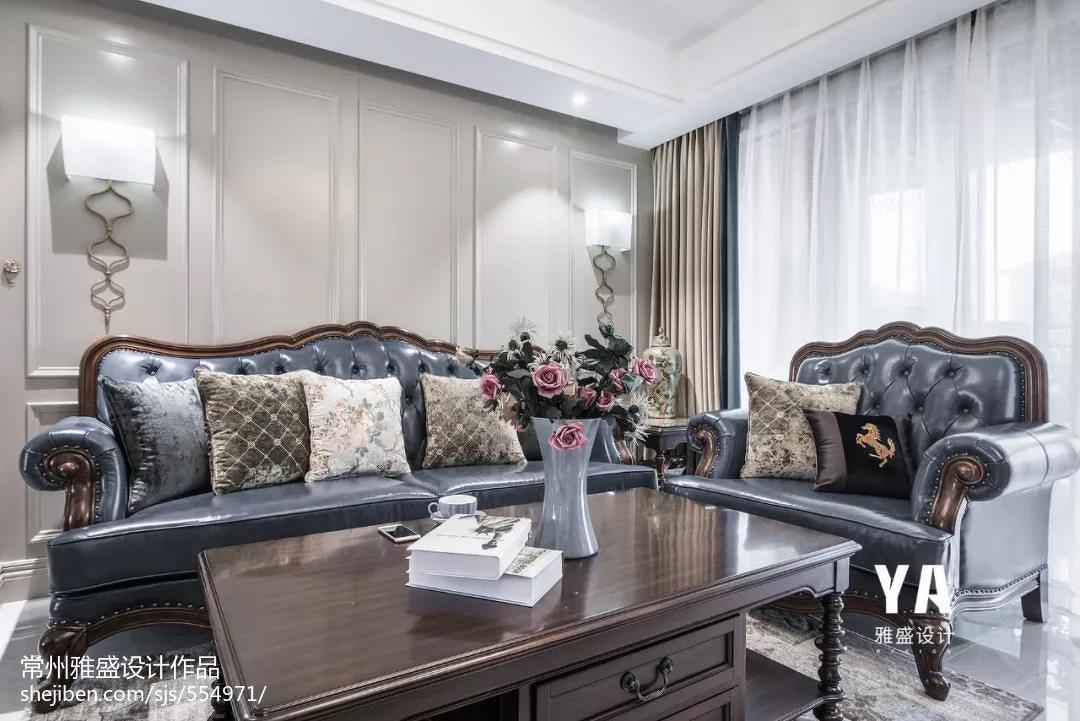 华丽108平美式三居客厅装修设计图