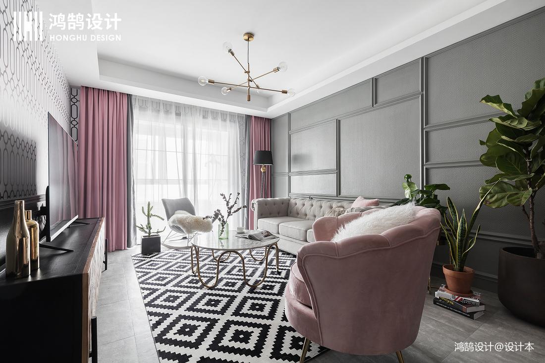 优雅95平混搭二居客厅实景图