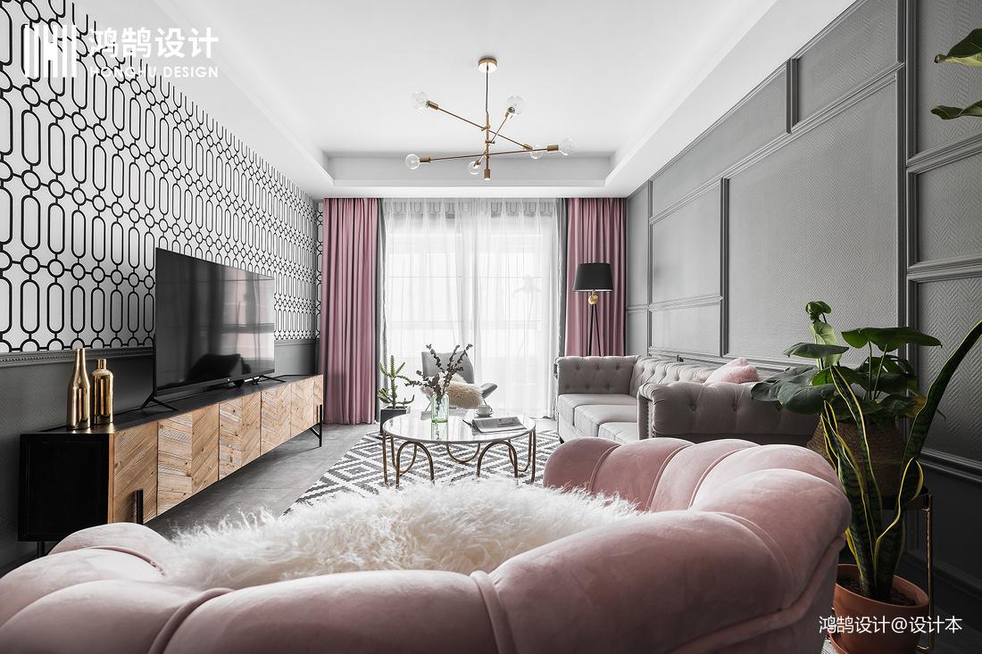 大气65平混搭二居客厅效果图片大全