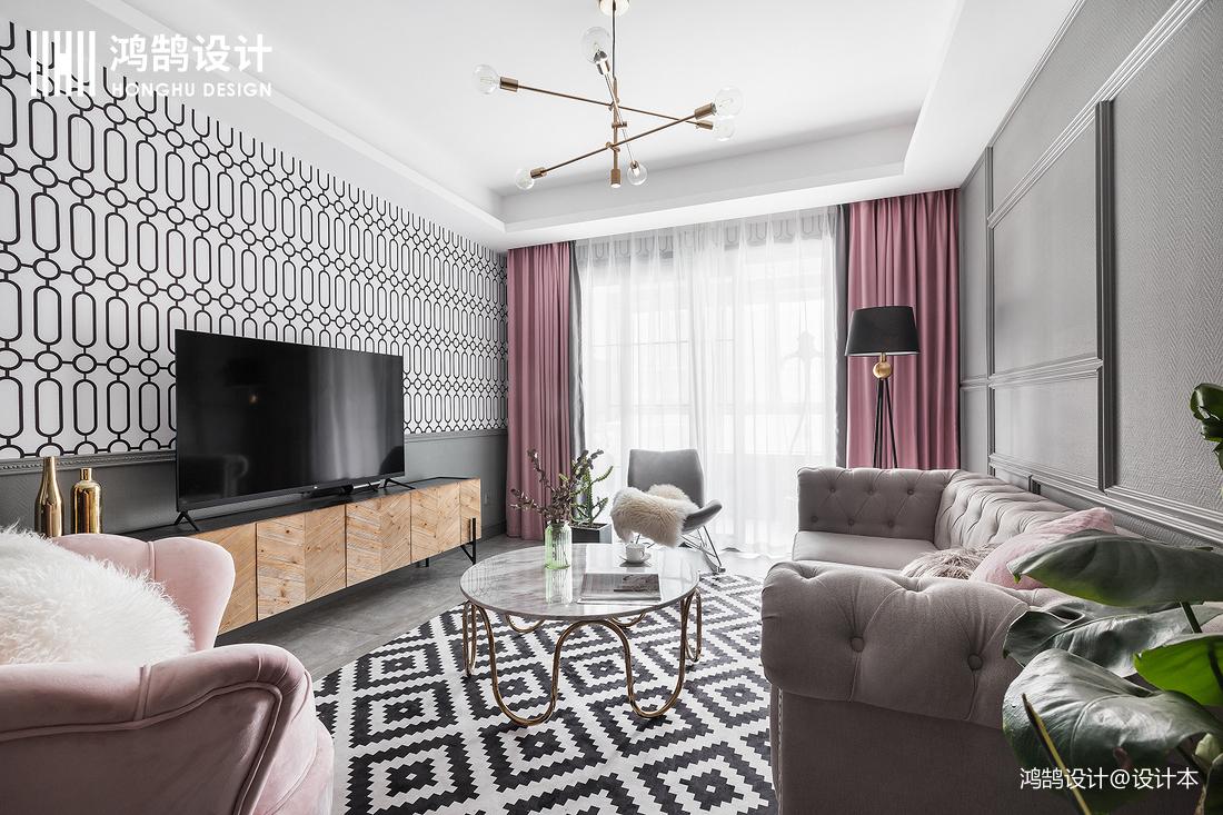 浪漫72平混搭二居客厅设计效果图
