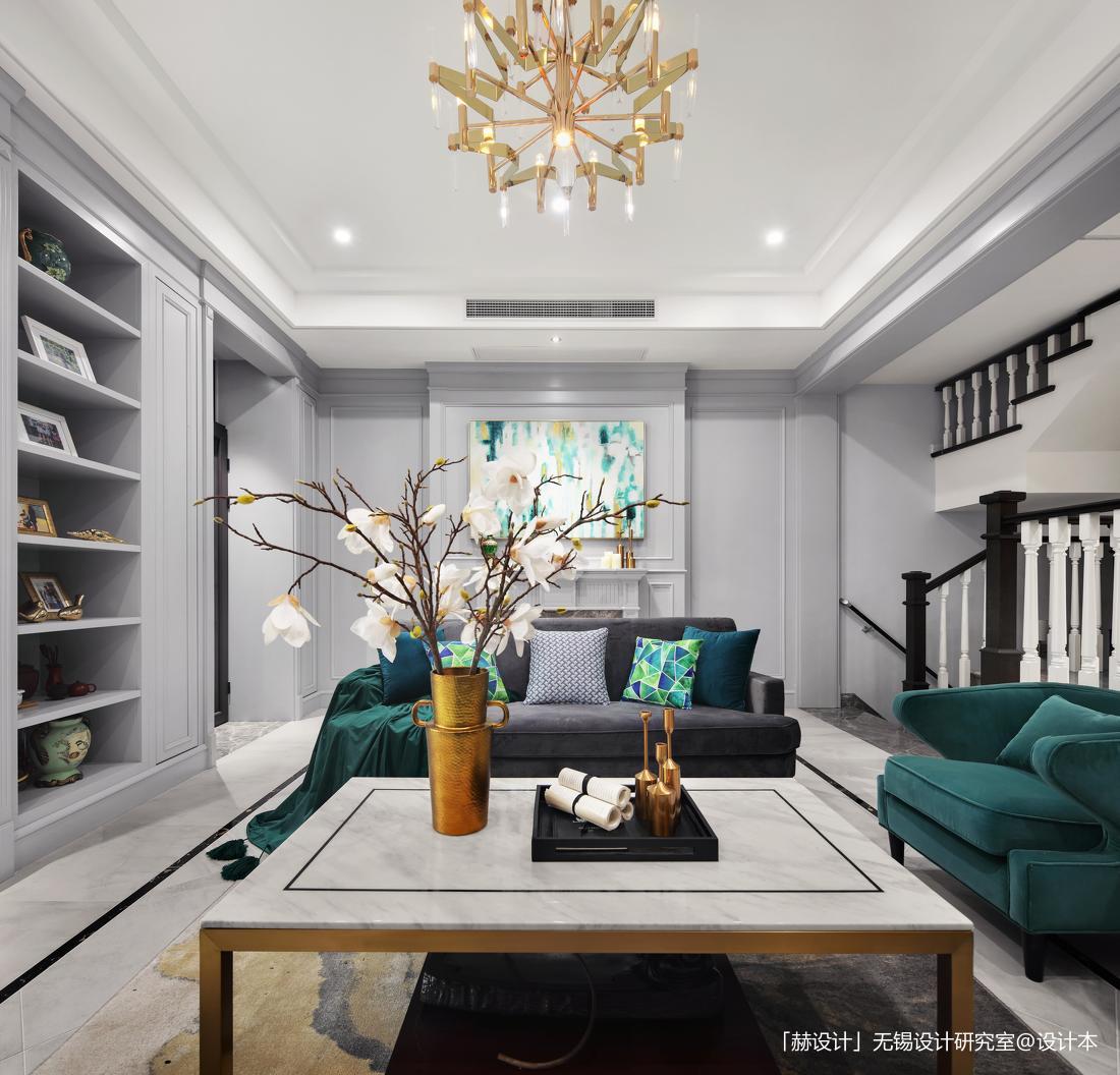 精致664平美式別墅客廳實景圖片