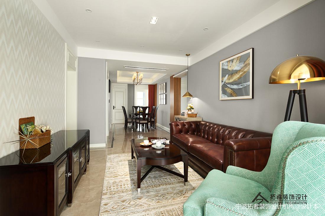 典雅83平美式三居客厅装修装饰图