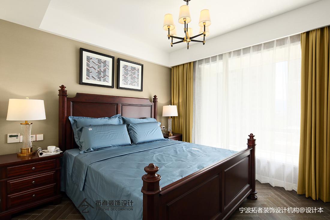 明亮91平美式三居卧室装修图