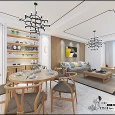 107平方三居餐厅中式装修设计效果图片欣赏