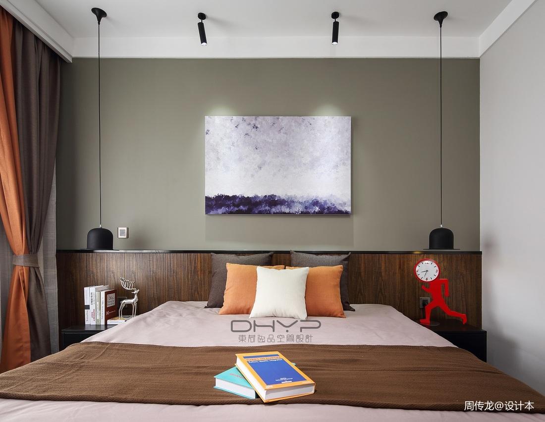 简洁105平混搭三居卧室装潢图